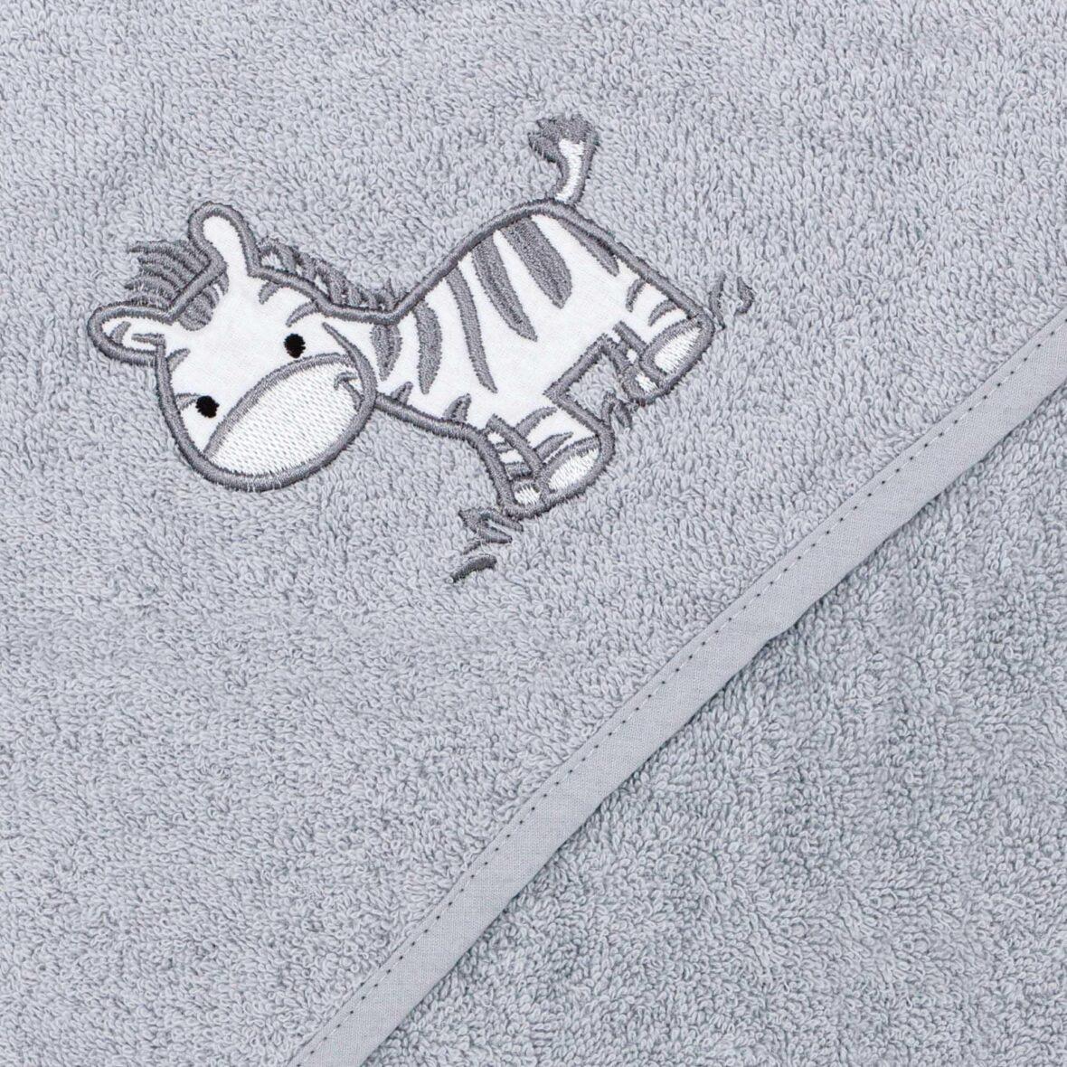Ručnik s kapuljačom Zebra Grey 100×100